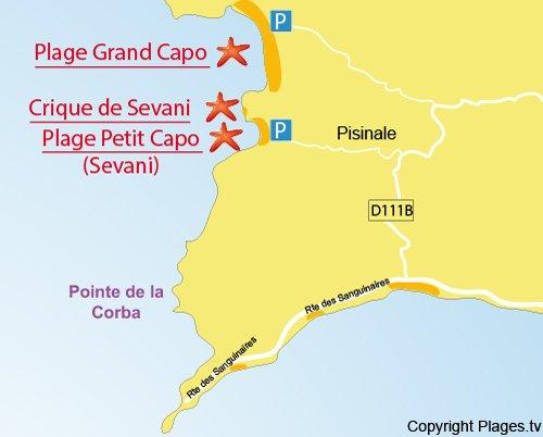 Plan de la crique de Sevani à Ajaccio