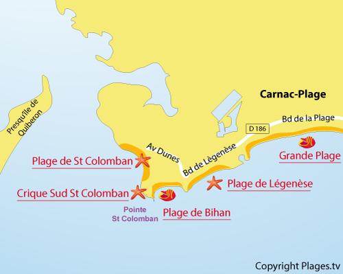 Carte des criques sud de St Colomban à Carcan