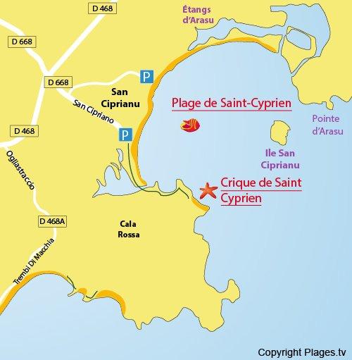 Mappa della Cricca di St Cyprien in Corsica
