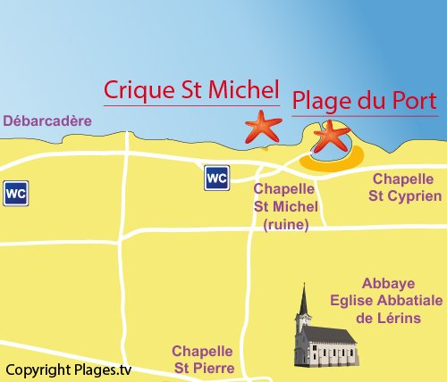 Map of St Michel Cove - Saint Honorat island