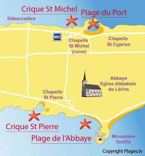 Map of Saint Pierre Cove St Honorat island - Iles de Lérins