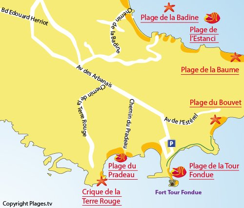 Map of Terre Rouge Cove in Hyères