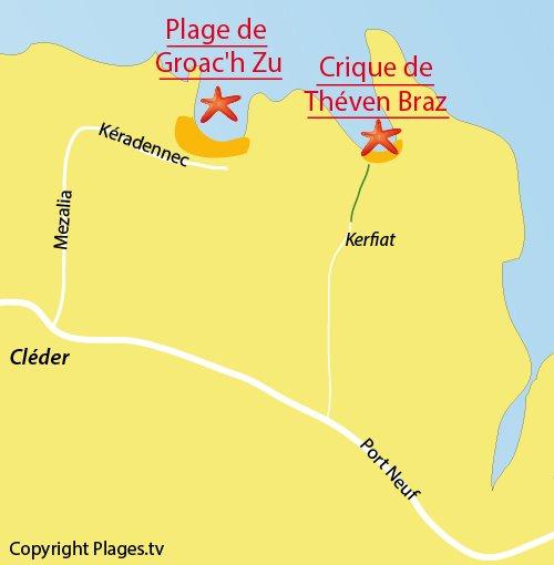 Map of Théven Braz Cove in Cléder