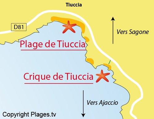 Plan de la crique de Tiuccia à Casaglione
