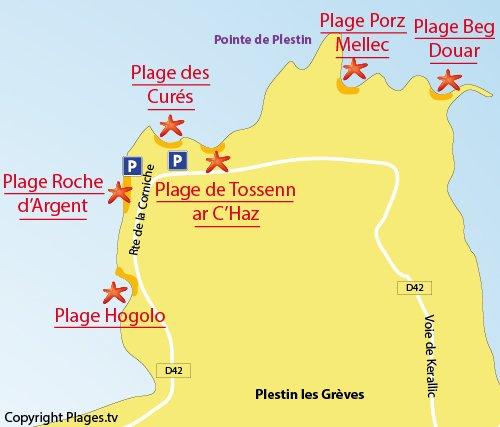 Plan de la crique de Tossen ar c'haz à Plestin en Bretagne