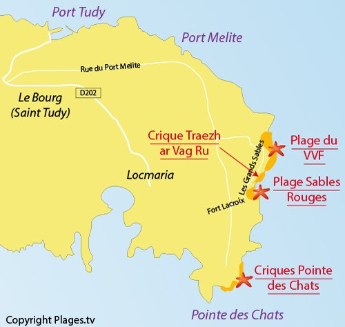 Carte de la crique de Traezh ar Vag Ru à Groix