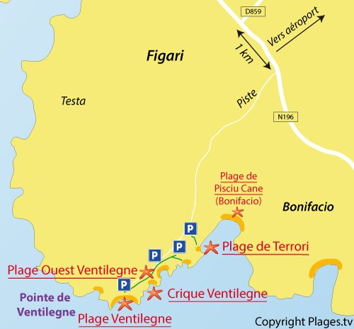 Carte de la crique de Ventilegne à Figari