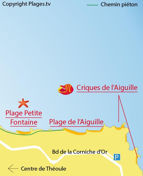 Carte des criques de l'Aiguille à Théoule sur Mer