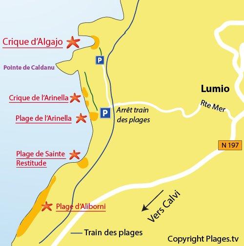 Carte des criques d'Algajo à Lumio (Corse)