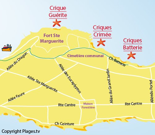 Map of Batterie Cove - Lerins island - Ste Marguerite