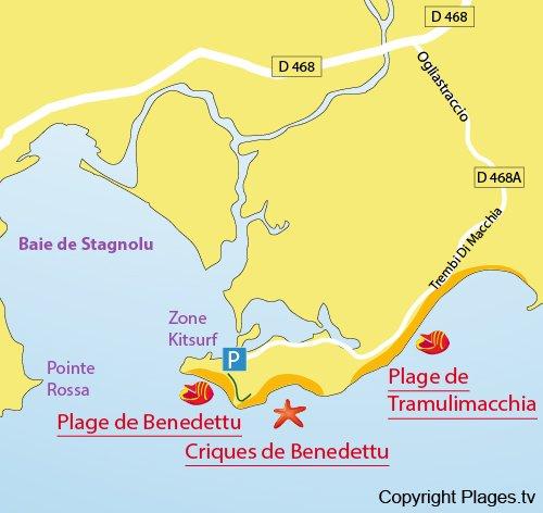 Map of Benedettu Cove in Corsica