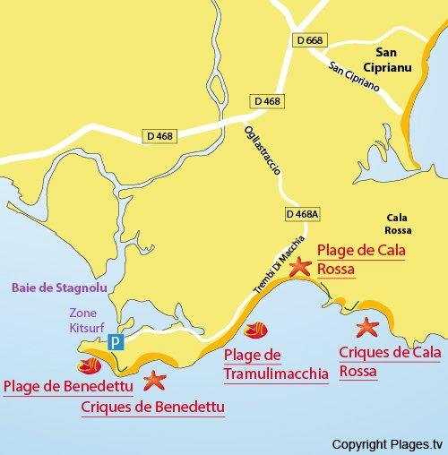 Map of Cala Rossa Cove in Corsica