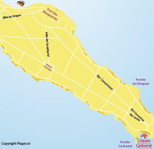 Carte des criques de Carbonel sur les Iles de Lérins