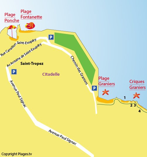 Map of Graniers Creek in Saint Tropez