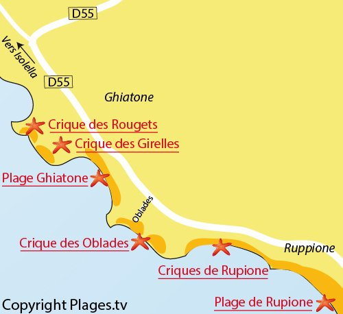 Mappa della Spiaggia Les Oblades - Rupione (Corsica)