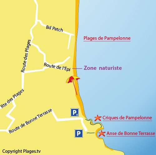 Map of Pampelonne Creeks in Ramatuelle - France