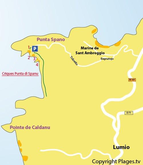 Carte des criques de la pointe di Spanu à Lumio - Corse