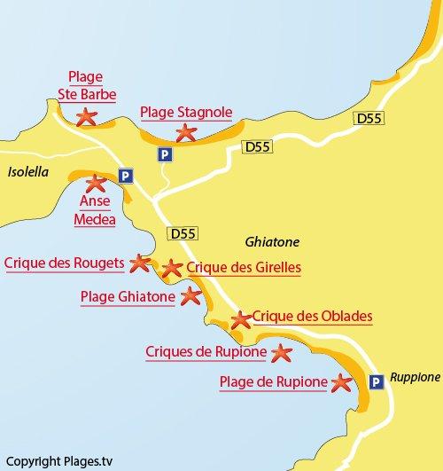 Map of Ruppione Cove in Ajaccio Bay