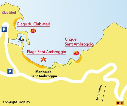 Map of Sant Ambroggio Creeks in Lumio in Corsica
