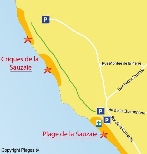 Map of Sauzaie Cove in Brétignolles sur Mer in France