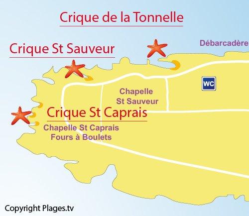 Map of Saint Caprais Cove - St Honorat island