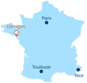 Localisation de Damgan en Bretagne