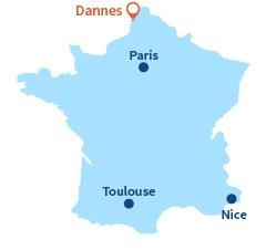 Localisation de Dannes dans le nord de la France