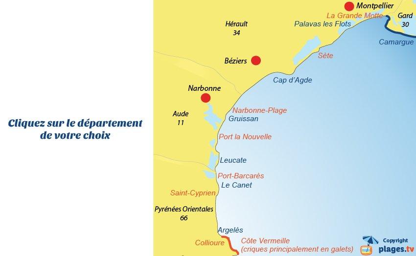 carte languedoc roussillon bord de mer Hôtels, campings et locations de vacances en bord de mer
