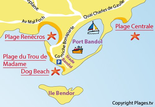 Plan de la plage de Dog Beach à Bandol