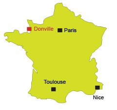 Location of Donville in France