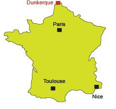 Mappa di Dunkerque in Francia