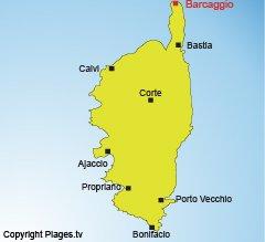 Carte de Barcaggio en Corse