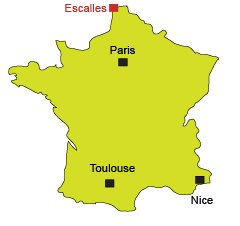 Location of Escalles in France