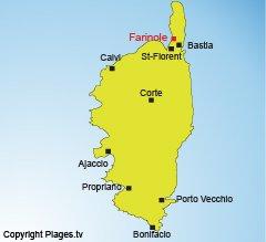 Location of Farinole in Corsica