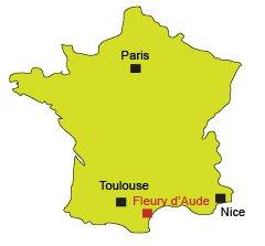 Localisation de Fleury d'Aude dans le Languedoc Roussillon