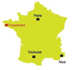 Localisation de Fouesnant en Bretagne