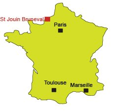 Map of Saint Jouin Bruneval in Normandy