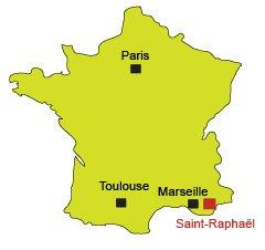 Carte de Saint Raphaël dans le Var