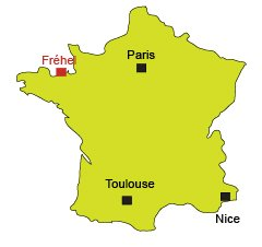 Location of Frehel in Brittany in France