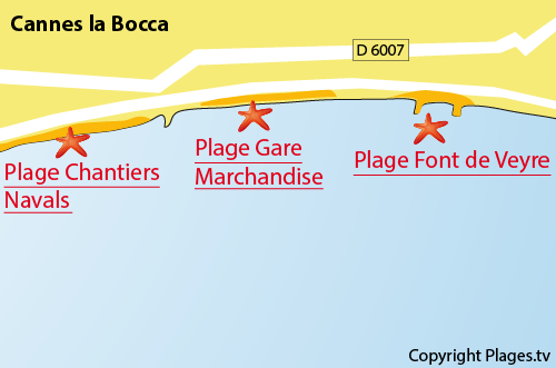 Carte de la gare marchandise de Cannes la Bocca