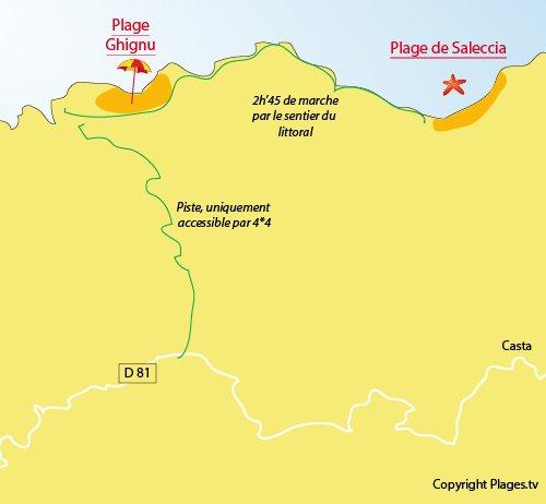 Mappa della Spiaggia di Ghignu in Corsica