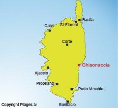Location of Ghisonaccia in Corsica