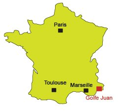 Location of Golfe Juan in France