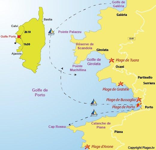 Carte des plages du golfe de Porto en Corse