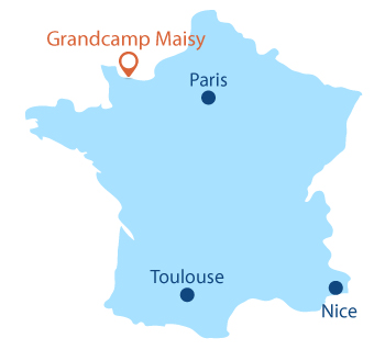 Location of Grandcamp Maisy in Normandy