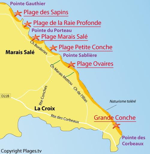 Map of Grande Conche Beach in Ile d'Yeu