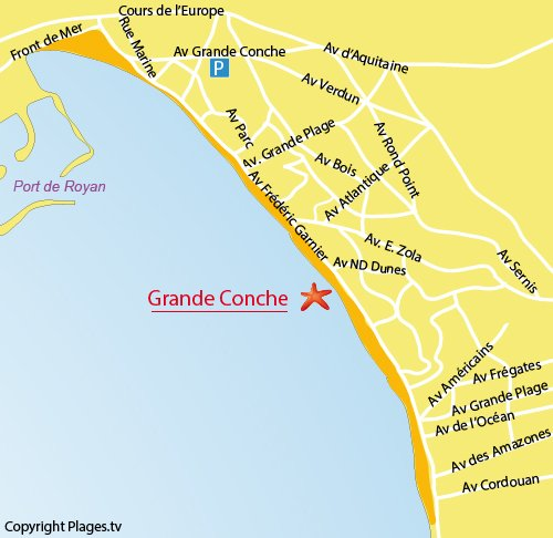 Map of Grande Conche beach in Royan