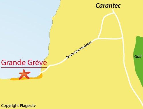 Map of Grande Grève in Carantec