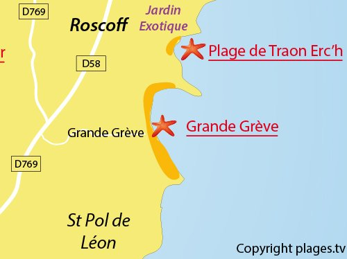 map of Great Beach in Roscoff