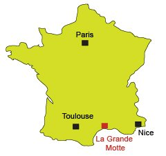 Location of La Grande Motte in France